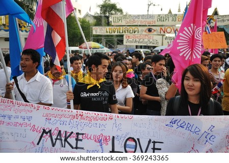 BANGKOK, THAILAND - NOV 11, 2013: Students join a city centre anti government rally. The Thai capital is experiencing ongoing political instability and daily street protests.