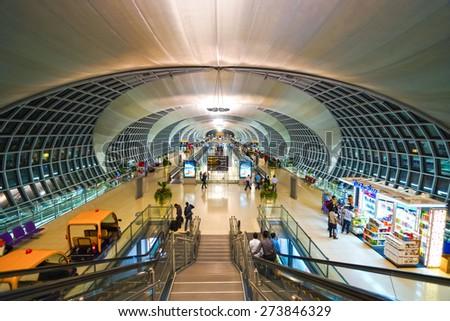 BANGKOK, THAILAND - NOV 11: Suvarnabhumi Airport interior on November 11, 2014. Suvarnabhumi Airport is one of two international airports serving Bangkok - stock photo