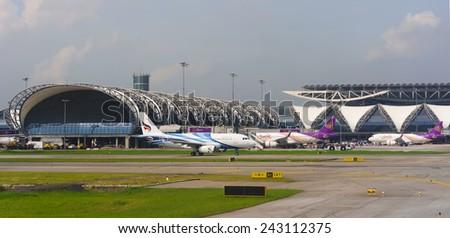BANGKOK, THAILAND - NOV 07: Suvarnabhumi Airport on November 07, 2014. Suvarnabhumi Airport is one of two international airports serving Bangkok. - stock photo