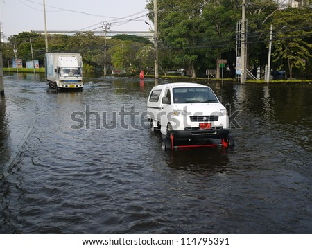 BANGKOK, THAILAND - NOV 17 - Thai flood hits Central of Thailand,  modified vehicle during flood crisis November 17, 2011 in Bangkok, Thailand