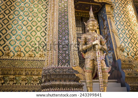 BANGKOK, THAILAND - NOV 20: the traditional architecture of the Temple of the Emerald Buddha on the grounds of the Grand Palace in Bangkok, Thailand on November 20 2014.  - stock photo