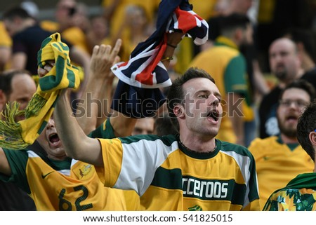 BANGKOK THAILAND NOV15:Unidentified fans of Australia supporters during the 2018 FIFA World Cup Asian Qualifiers Match Thailand and Australia at Rajamangala Stadium on November 15,2016 in Thailand.