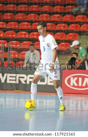 BANGKOK, THAILAND - NOV 04 : Unidentified players in FIFA Futsal World Cup thailand 2012 Between Paraguay (R) VS Costa Rica (W) at Indoor Stadium Huamark on November 4, 2012 in Bangkok, Thailand.