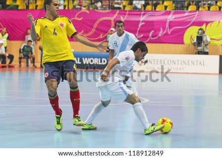 BANGKOK, THAILAND - NOV 3 : Unidentified players in FIFA Futsal World Cup thailand 2012 Between Guatemala (W) VS Colombia (Y) on November 3, 2012 at Nimibutr Stadium in Bangkok Thailand.