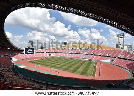 BANGKOK THAILAND NOV12: 2015 View of Rajamangala Stadium during the Fifa World Cup Group F qualifying Match between Thailand and Chinese Taipei at Rajamangala Stadium in Thailand.