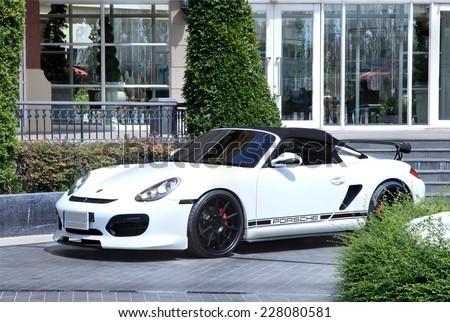 BANGKOK , THAILAND - NOVEMBER 02 :  A Porsche boxster car on Porsche dealer, shot in front of Porsche dealer at  on November 02, 2014 in Bangkok, Thailand - stock photo