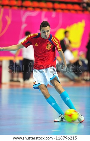 BANGKOK, THAILAND - NOVEMBER 11: Aicardo players of spain in FIFA Futsal World Cup, Round of 16 match between Thailand (R) and Spain (B) at Nimibutr Stadium on November 11, 2012 in Bangkok, Thailand. - stock photo
