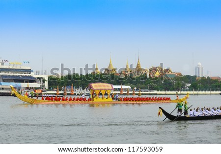 "BANGKOK,THAILAND-NOVEMBER 2: ""Anekkachatphuchong"" was set for the dress rehearsal of the Royal Barge Procession for the Royal Kathin Ceremony at Chaopraya river on November 2,2012 in Bangkok,Thailand"