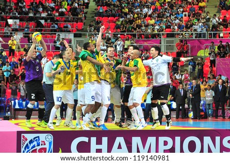 BANGKOK, THAILAND - NOVEMBER 18: Brazil winning the FIFA Futsal World Cup Final at Indoor Stadium Huamark on November 18, 2012 in Bangkok, Thailand. - stock photo