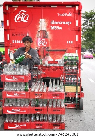 Bangkok,Thailand - November 01 ,2017 : Coca-Cola Delivery vehicles on prannok street at Bangkok,Thailand