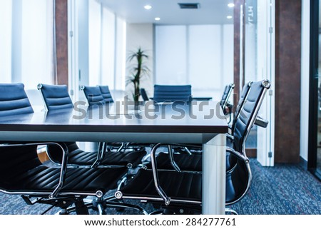 BANGKOK THAILAND-NOVEMBER 29: Empty business conference room interior in office on November 29,2014 in Bangkok Hotel,Thailand. - stock photo