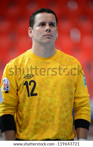 BANGKOK,THAILAND-NOVEMBER 09:(GK) William Ramirez of Guatemala looks on prior to the FIFA Futsal World Cup between Solomon Islands and Guatemala at Indoor Stadium Huamark on Nov9,2012 in,Thailand.