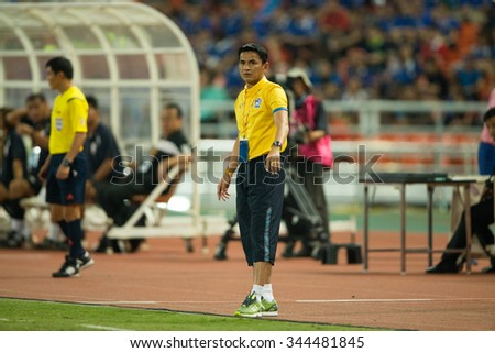 BANGKOK,THAILAND NOVEMBER 12:Head coach Kiatisuk Senamuang of Thailand in action during the 2018 FIFA World Cup QualifierThailand and Chinese Taipei at Rajamangala Stadium on Nov 12, 2015 in Thailand.