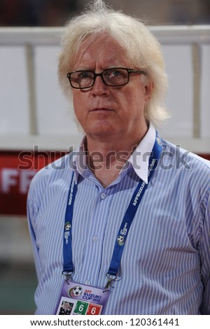 BANGKOK THAILAND-NOVEMBER 27:Head coach	Winfried Schafer of Thailand look on during the AFF Suzuki Cup between Thailand and Myanmar at Rajamangala stadium on Nov27, 2012 in Bangkok,Thailand.