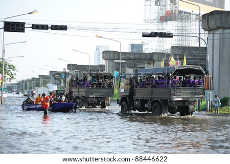 BANGKOK, THAILAND - NOVEMBER 04: Heavy flooding from monsoon rain in north Thailand arriving in Bangkok on November 04, 2011 in Bangkok, Thailand.