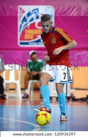 BANGKOK, THAILAND - NOVEMBER 11:Miguelin of Spain warms up ahead during the FIFA Futsal World Cup  between Thailand and Spain at Nimibutr Stadium on Nov11, 2012 in Bangkok,Thailand.