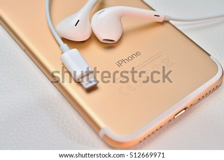 Bangkok, Thailand - November 10, 2016 : New Apple iPhone 7  unboxing in the first day of sales. New Apple iPhone acclaims to become the most popular smart phone in the world.