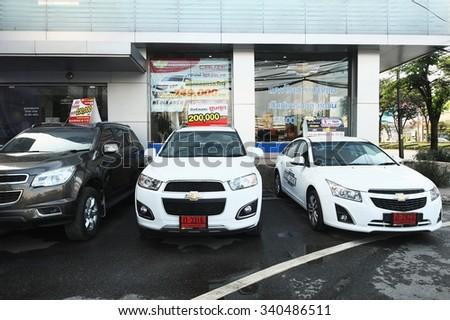 BANGKOK, THAILAND - NOVEMBER 15 : New 2016 Chevrolet vehicles at showroom in Bangkok ,Thailand on November 15, 2015.   - stock photo