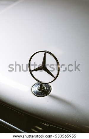 BANGKOK, THAILAND - NOVEMBER 21, 2016 : Old Mercedes Benz logo on E-class 124 models, manufactured from 1984-1995. The W124 models replaced the W123 models after 1984