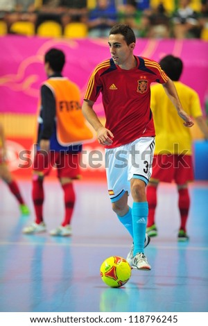 BANGKOK, THAILAND - NOVEMBER 11: Ortiz players of spain in FIFA Futsal World Cup, Round of 16 match between Thailand (R) and Spain (B) at Nimibutr Stadium on November 11, 2012 in Bangkok, Thailand. - stock photo