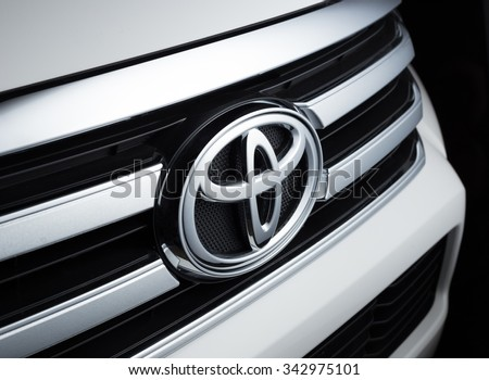 BANGKOK, THAILAND -November 24,2015 :Photo of Toyota logo .Toyota Motor Corporation is a Japanese automotive manufacturer. It is the fourteenth-largest company in the world by revenue.
