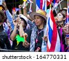 BANGKOK, THAILAND - NOVEMBER 27: Protesters hold an anti-government rally on November 27, 2013 in Ministry of industry's office. They blow whistles to make symbolic protest against the amnesty bill. - stock photo