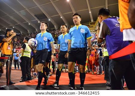 BANGKOK THAILAND-November 21: Referee on soccer match in action during football Toyota League cup between Sisaket FC and Buriram UTD. , at Supachalasai Stadium on November 21,2015:Thailand. - stock photo
