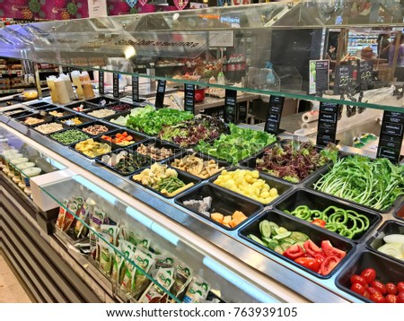 Bangkok,Thailand - November 26, 2017 : Shelf of salad bar at Tops market. Tops market is a big supermarket in Thailand