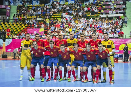 BANGKOK, THAILAND - NOVEMBER 14: Spain Team in the FIFA Futsal World Cup, Quarter-Final match between Spain and Russia at Nimibutr Stadium on November 14, 2012 in Bangkok, Thailand. - stock photo