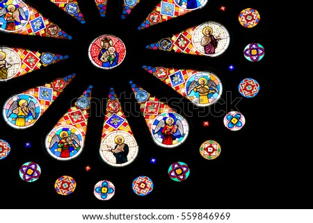 BANGKOK, THAILAND - November 23, 2009: Stained glass window in the St. Louis Marie de Montfort Church at Assumption University.
