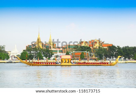 "BANGKOK,THAILAND-NOVEMBER 6: ""Suphannahonge"" was in the last dress rehearsal of the Royal Barge Procession for the Royal Kathin Ceremony at Chaopraya river on November 6,2012 in Bangkok,Thailand - stock photo"