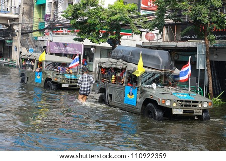BANGKOK, THAILAND - NOVEMBER 12 : Thai flood hits Central of Thailand, higher water levels expected, during the worst flooding in decades on November 12,2011 Bangkok, Thailand.