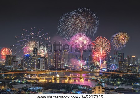 Bangkok, Thailand-November 25, 2015: The Krung-thep bride in Bangkok, Thailand with fireworks on Nov 25, 2015 at night time.