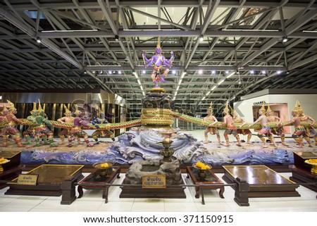 BANGKOK, THAILAND - NOVEMBER 07, 2015: Traditional Thai god monuments decorated inside Suvarnabhumi International Airport. Here is one of two international airports in Bangkok. - stock photo