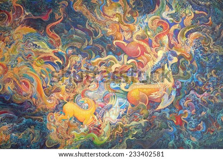 BANGKOK ,THAILAND   NOVEMBER 22 : Traditional Thai Mural Painting Of The  Mythical Creatures On