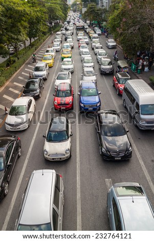 BANGKOK, THAILAND NOVEMBER 22,2014: Traffic on a busy road on November 22, 2014 in Bangkok, Thailand. Bangkok is the most crowded city in Thailand.