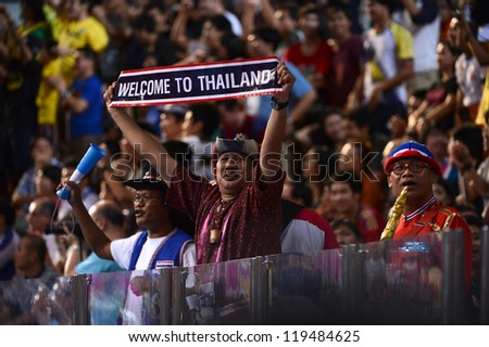 BANGKOK,THAILAND-NOVEMBER18:Unidentifie fan of Thailand supporters during the FIFA Futsal World Cup Final between Spain and Brazil at Indoor Stadium Huamark on Nov18, 2012 in Bangkok,Thailand.