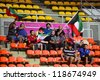 BANGKOK,THAILAND-NOVEMBER 06:Unidentified fans of Kuwait supporters during the FIFA Futsal World Cup between Kuwait and Serbia at Indoor Stadium Huamark on Nov6, 2012 in Bangkok,Thailand. - stock photo