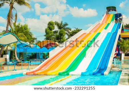 BANGKOK, THAILAND - NOVEMBER 9: Unidentified people play slide at Siam Park City water park in Bangkok, Thailand on November 9, 2014 - stock photo