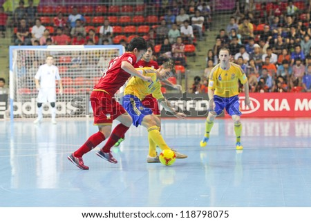 BANGKOK, THAILAND - NOVEMBER 04: Unidentified players in FIFA Futsal World Cup Group A match between Thailand and Ukraine at Indoor Stadium Huamark on November 4, 2012 in Bangkok, Thailand.
