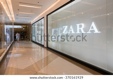 BANGKOK, THAILAND - NOVEMBER 19, 2015: Zara store. Zara is a Spanish clothing and accessories retailer based in Arteixo, Galicia, and founded in 1975 by Amancio Ortega and Rosalía Mera.