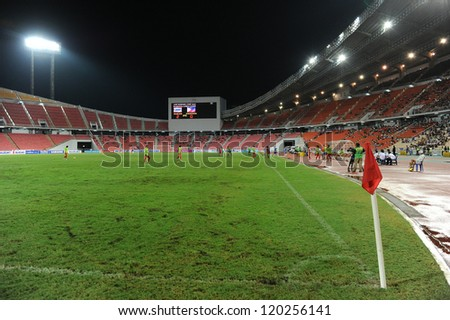 BANGKOK THAILAND-NOVENBER 24:Unidentified view of Rajamangala stadium during the AFF Suzuki Cup between Thailand and Philippines at Rajamangala stadium on Nov24, 2012 in,Thailand.