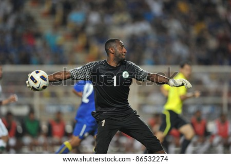 BANGKOK THAILAND - OCT 11: A.Waleed(GK) of Sa in action during FIFA WORLD CUP 2014 between Thailand(B) and Saudi Arabia(W) at Rajamangla Stadium on Oct 11, 2011 Bangkok, Thailand.