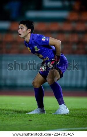 BANGKOK THAILAND-Oct15:Goalkeeper Sarawut Konglarp of Army Utd F.C.reacts during  Thai Premier League between Army Utd F.C.and Chonburi F.C. at Royal Thai Army Stadium on October 15,2014 in Thailand - stock photo