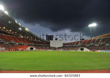 BANGKOK THAILAND - OCT 11: Rajamangla Stadium during FIFA WORLD CUP 2014 between Thailand(B) and Saudi Arabia(W) at Rajamangla Stadium on Oct 11, 2011 Bangkok, Thailand. - stock photo