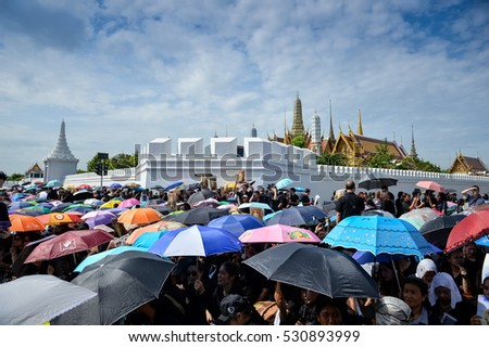 Bangkok, Thailand 22 Oct 2016 : Thai people gathering at Sanam Luang in front of the Royal Palace as the condolences on the death of King Bhumibol  on OCTOBER  22, 2016 in Bangkok, Thailand.