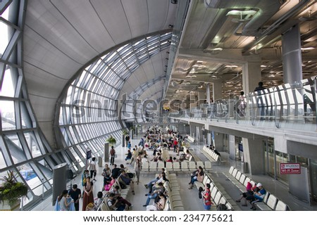Bangkok, Thailand - OCT 4: The modern design of Bangkok International Airport in Bangkok, Thailand on October 4 2014. This airport is one of the busiest in Southeast Asia.  - stock photo
