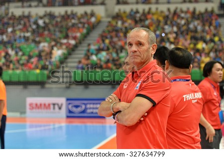 BANGKOK THAILAND-OCT11:Victor Hermans of Thailand in action during 2015 AFF Futsal Championship Match between Thailand and Brunei at Bangkok Arena Stadium on October11,2015 in Thailand