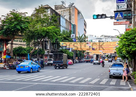 Bangkok, Thailand - Oct. 11: Yaowarat Road,the main street in Chinatown, built by King Rama V.This crowded street winds through the bustling heart of Chinatown on Oct. 11, 2014 in China town, Bangkok - stock photo