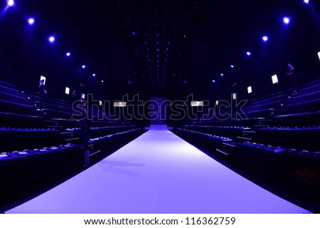 BANGKOK THAILAND-OCTOBER 12:A model walks on the catwalk showing for Painkiller design by Thai designer Siriorn Teankaprasith during the Elle fashion week 2012 at Bangkok on Oct 12, 2012 in Thailand - stock photo
